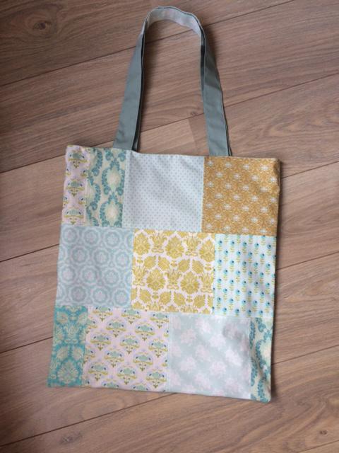katoenen gevoerde draagtas met patchwork voorkant